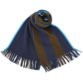 【Paul Smith】經典繽紛多色線條純棉圍巾(藍灰/墨綠)