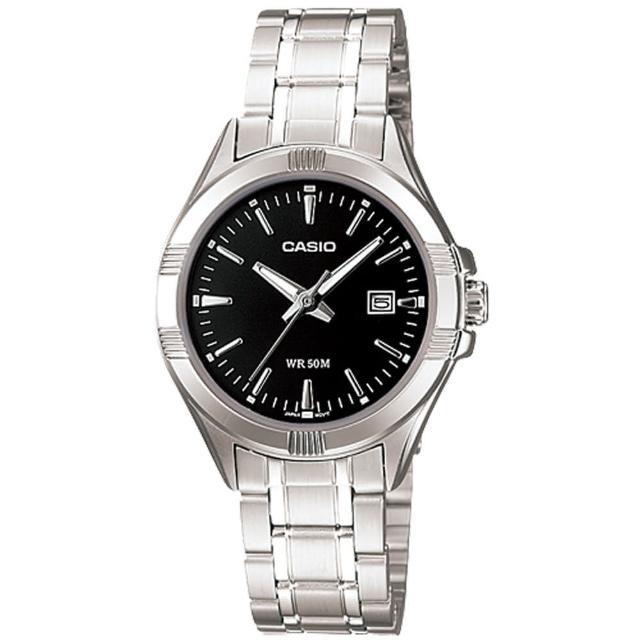 【CASIO 卡西歐】日系-夜黑氣質簡約時尚女錶(LTP-1308D)