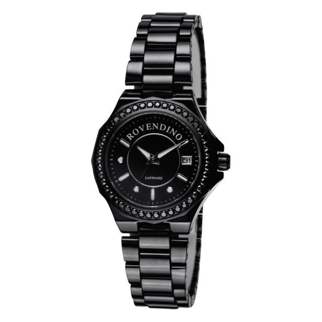 【羅梵迪諾 Roven Dino】閃耀美學頂級藍寶石玻璃全陶瓷手錶 黑 35mm(RD6046)