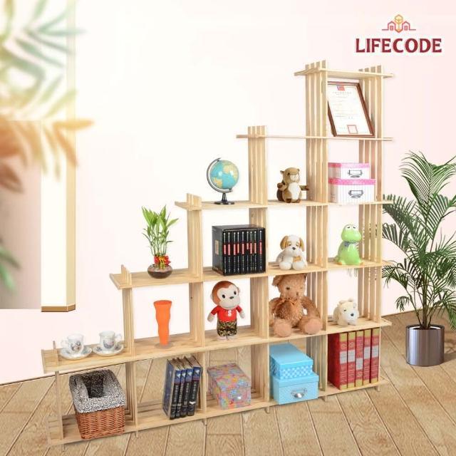 【LIFECODE】極簡風黃松木斜十五格架/實木置物書架