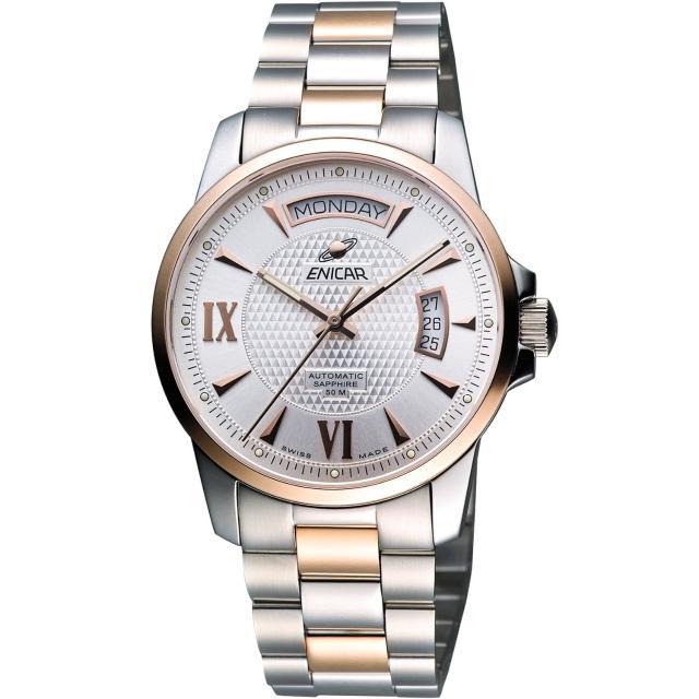 【ENICAR】恆動經典日曆機械腕錶-銀/雙色版/40mm(169-50-338G)