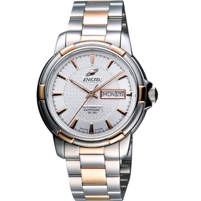 【ENICAR】航行經典日曆機械腕錶-銀/雙色版/41mm(168-50-335G)
