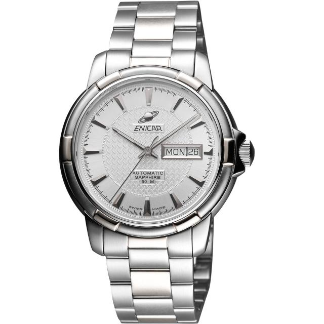 【ENICAR】航行經典日曆機械腕錶-銀/41mm(168-50-335aA)