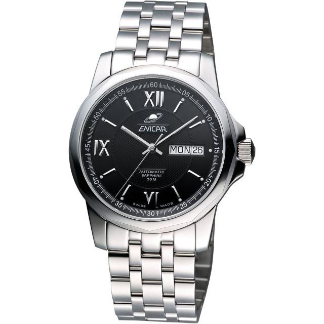 【ENICAR】羅馬經典日曆機械腕錶-黑/銀/39mm(168-51-326aB)