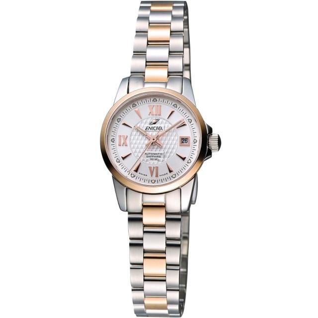【ENICAR】自動系列羅馬機械女錶-銀/雙色版/24mm(771-50-338G)