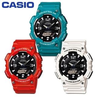 【CASIO 卡西歐】艷彩系列/太陽能指針-數位雙顯錶/藍綠/橘紅/白色(AQ-S810WC)