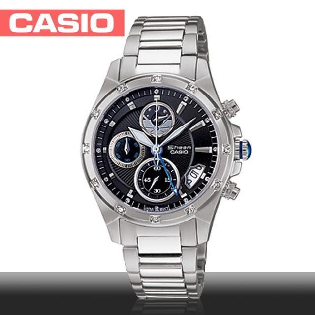 【CASIO 卡西歐 SHEEN系列】日系藍寶石鏡面-典雅設計精緻女錶(SHN-5506D)