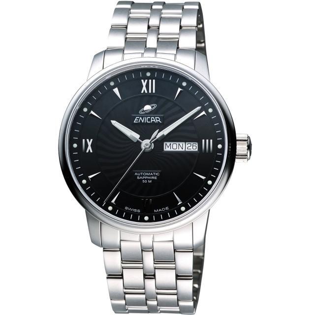 【ENICAR】光輝時刻經典機械腕錶-黑/銀/41mm(3168-50-351aB)