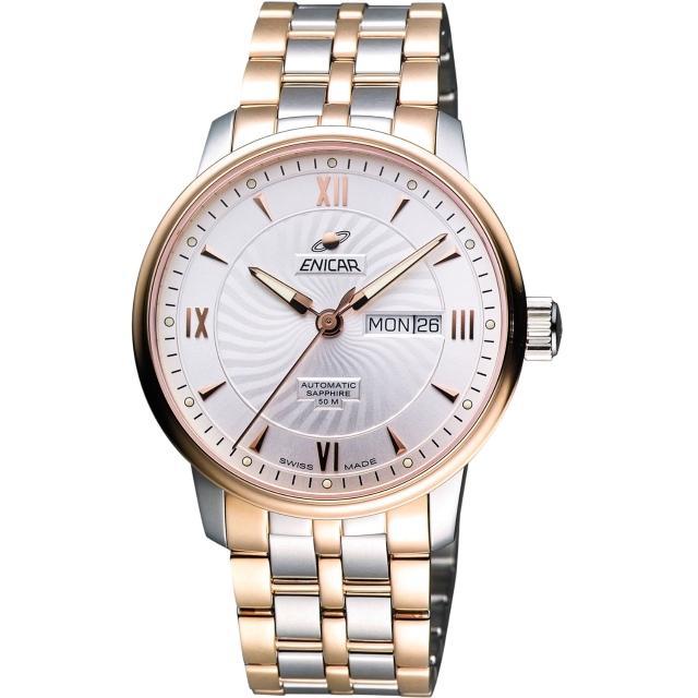 【ENICAR】光輝時刻經典機械腕錶-銀/雙色版/41mm(3168-50-351G)