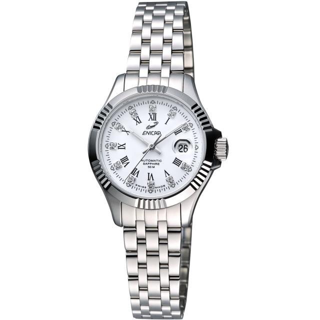 【ENICAR】自動系列璀燦晶鑽機械女錶-白/銀/27mm(778-50-329a)