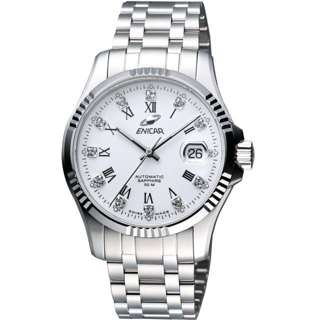 【ENICAR】自動系列璀燦晶鑽機械腕錶-白/銀/40mm(3165-50-329a)