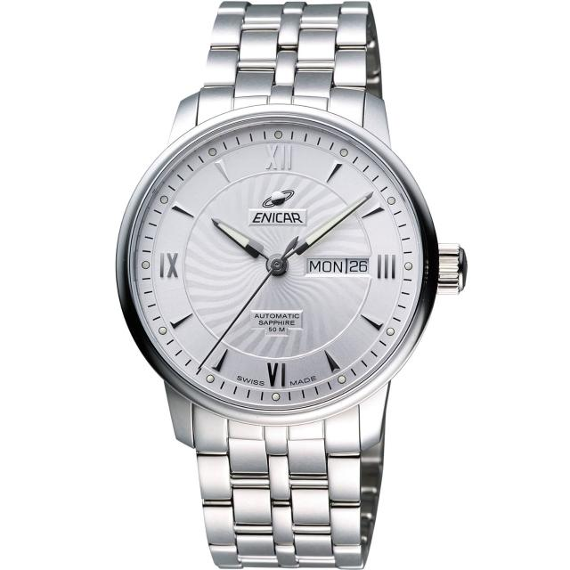 【ENICAR】光輝時刻經典機械腕錶-銀/38mm(3168-50-351aA)