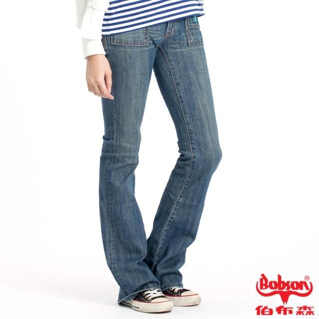 【BOBSON】女款貼口袋伸縮中喇叭牛仔褲(藍77)