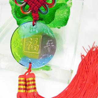 【精品水晶工坊】出入平安琉璃行車吊飾