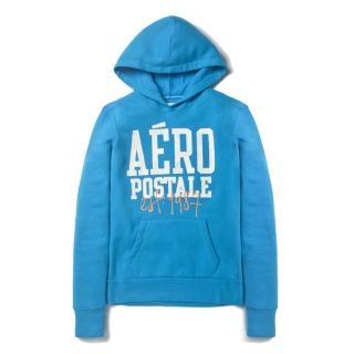 【現貨Aeropostale】女 復刻版AERO1987 logo 連帽上衣(藍色)