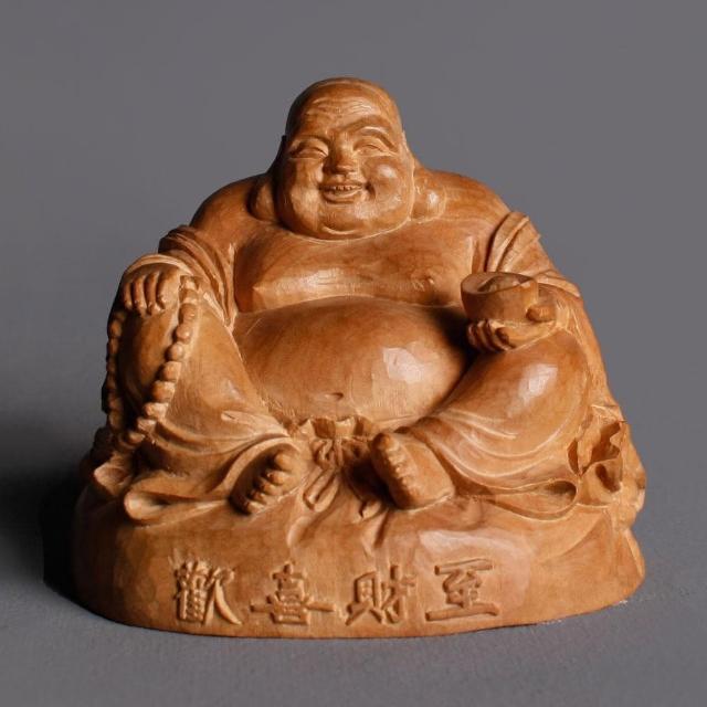 【荒木雕塑藝品】檀香木歡喜財至布袋佛