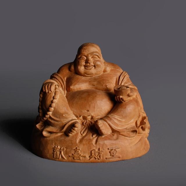 【MU LIFE 荒木雕塑藝品】檀香木歡喜財至布袋佛