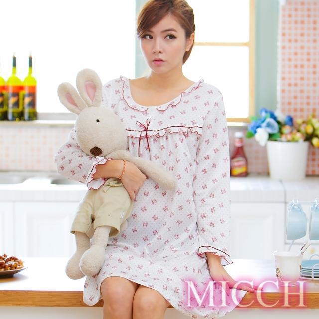 【MICCH】悠然怡居 蝴蝶結印花睡衣裙