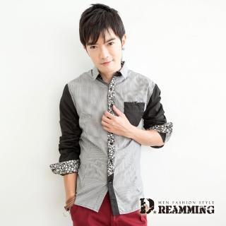 【Dreamming】剪接碎花條紋長袖襯衫(共二色)