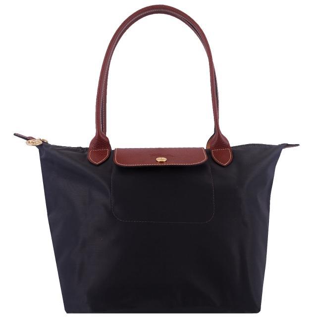 【Longchamp】長背帶折疊水餃包(鐵灰色/小)