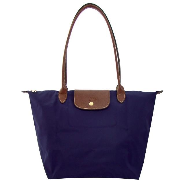 【Longchamp】長背帶折疊水餃包(藍色/小)