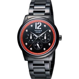 【VOGUE】都會時尚藍寶石日曆腕錶-IP黑x橘/38mm(7V3834DO)