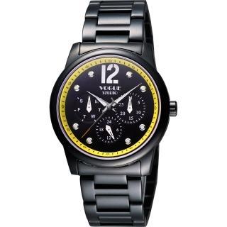 【VOGUE】都會時尚藍寶石日曆腕錶-IP黑x黃/38mm(7V3834DY)