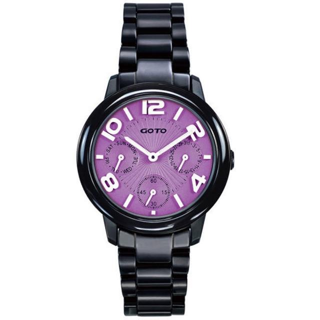 【GOTO】躍色潮流時尚陶瓷腕錶-紫面黑/小(GC9106L-33-N21)