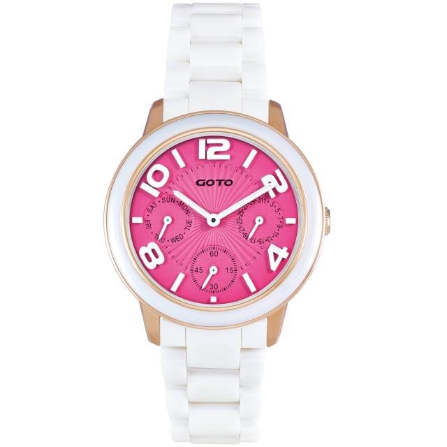 【GOTO】躍色潮流時尚陶瓷腕錶-桃面白/小(GC9106L-82-F21)