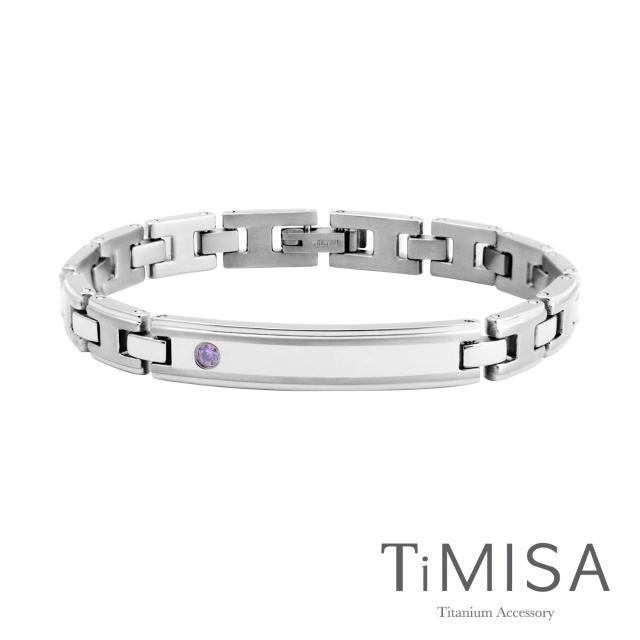 【TiMISA】純粹品味-晶鑽版 純鈦鍺手鍊(雙色可選)