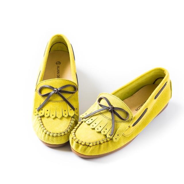 【ALAIN DELON】柔軟舒適細緻磨砂豆豆鞋W7423(3色 黃色 藍色 紅色)