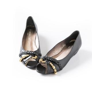 【ALAIN DELON】舒適減壓氣質魚口楔型鞋W9412(1色 黑色)