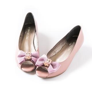 【ALAIN DELON】亮鑽蝴蝶結氣質魚口楔型鞋W9413(1色    芋色)