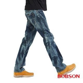 【BOBSON】男款刷紋牛仔直筒褲(藍53)