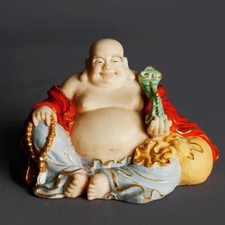 【荒木雕塑藝品】FRP日式淡彩金如意布袋佛