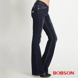 【BOBSON】女款銀蔥刺繡小喇叭褲(藍52)