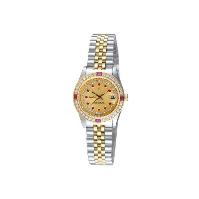 【Olympianus】晶鑽紅寶璀璨女錶-半金(68322DSK)