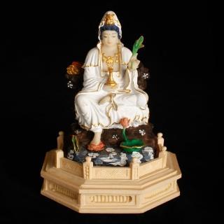 【MU LIFE 荒木雕塑藝品】FRP日式淡彩金半跏白衣觀音