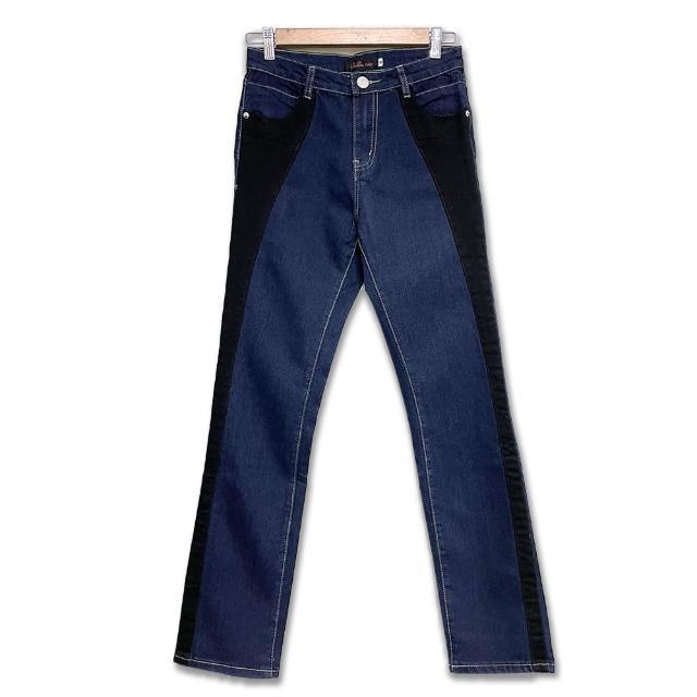 【RH】一褲雙效拼接兩色牛仔長褲(深藍拼接黑色全尺碼)