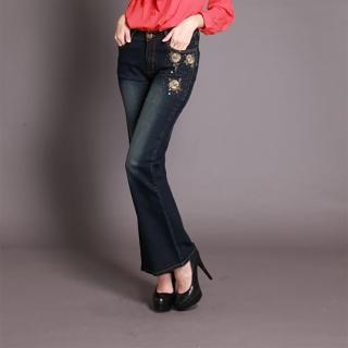 【RH】立體玫瑰繡珠造型小喇叭牛仔長褲(顯瘦布料修身深籃全尺碼)