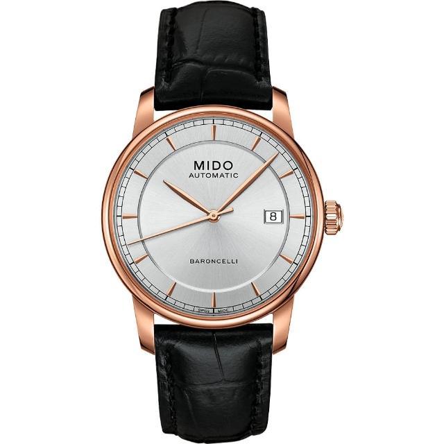 【MIDO】Baroncelli II 爵士時尚機械腕錶-銀X玫塊金框/38mm(M86003104)