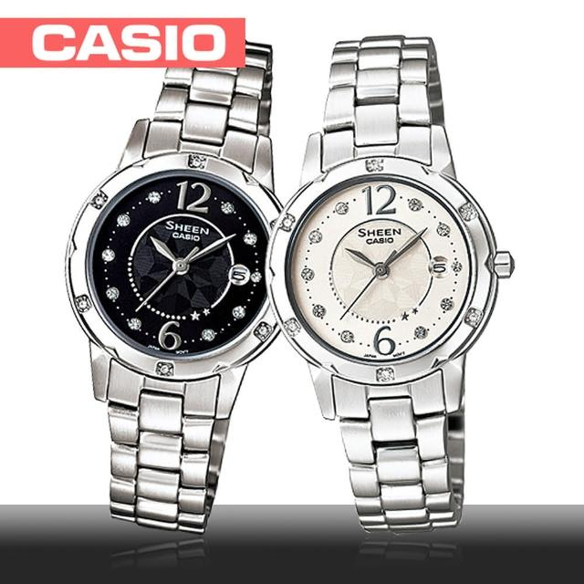 【CASIO 卡西歐 SHEEN 系列】日系-水晶裝飾細緻溫柔女錶(SHE-4021D)