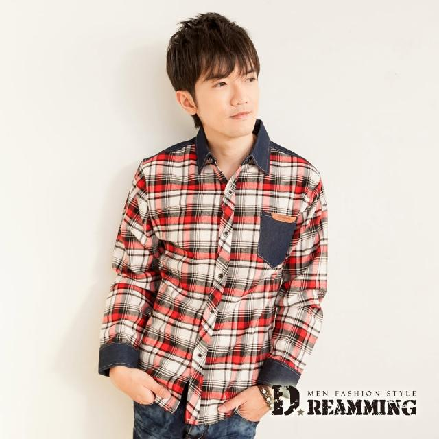 【Dreamming】牛仔剪接格紋長袖休閒襯衫(共二色)