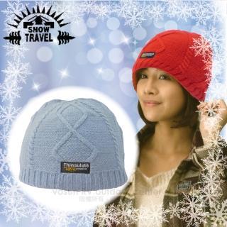 【SNOW TRAVEL】3M Thinsulate高級素面麻花保暖羊毛帽.毛線帽/適零下20度(水藍)