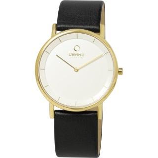 【OBAKU】纖薄哲學二針時尚腕錶-黑帶金框白/皮帶(V143GGWRB)
