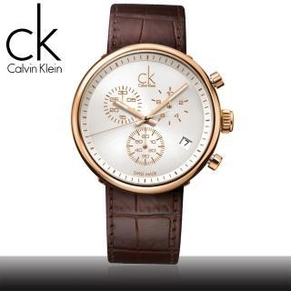 【瑞士 CK手錶 Calvin Klein】時尚流行-三眼計時紳士錶(K2N286G6)