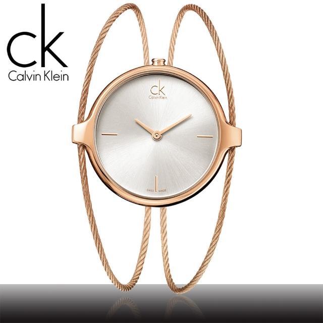 【瑞士 CK手錶 Calvin Klein】浪漫鋼索手環式玫瑰金手錶(K2Z2S616 - 小)