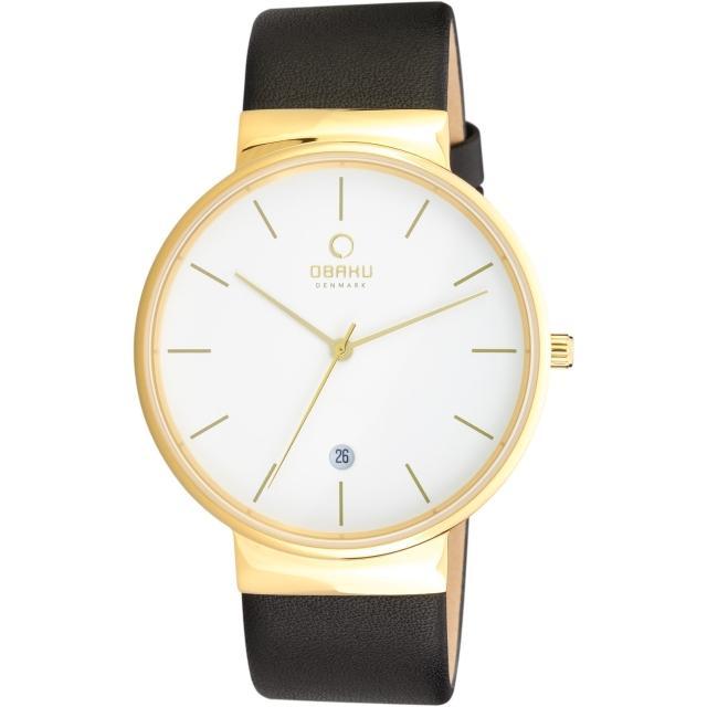 【OBAKU】純粹經典三針日期時尚腕錶-黑帶金框白/皮帶(V153GGWRB)