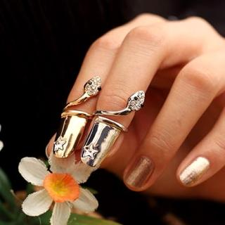 【Lady c.c.】星光小蛇造型指尖戒指(2色一組)