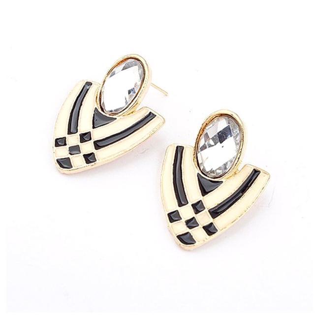 【Lady c.c.】水鑽盾牌雙色條紋耳環(白)